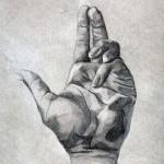 Mano dibujada a lápiz sobre papel con base de carboncillo por Sonia Gabrysova