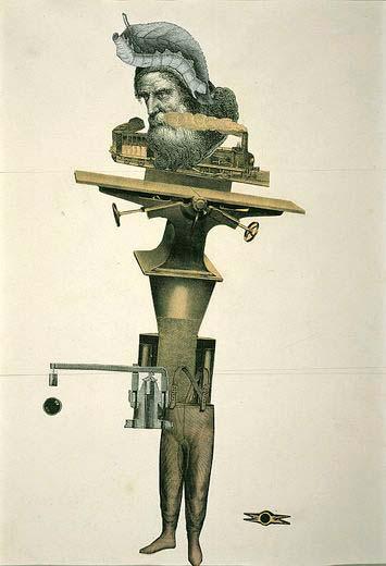 Cadàver exquisito. Collage realizado por André Breton, Jacqueline Lamba, Yves Tanguy