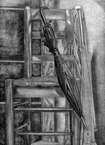 Silla dibujada con lápiz de grafito
