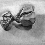 Bolsa de papel dibujada con lápiz de grafito sobre papel con base de carboncillo por Beni Bancescu